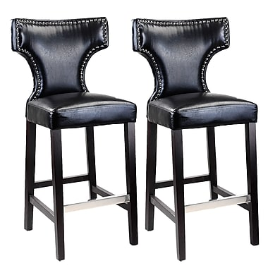 CorLiving DAD-809-B Kings Bar Height Barstool, Black with Metal Studs, 2/Pack