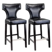 CorLiving™ Kings Bonded Leather Bar Height Barstool With Metal Studs, Black