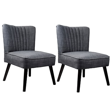 CorLiving LAD-160-C Antonio Accent Chair, Woven Grey, 2/Pack