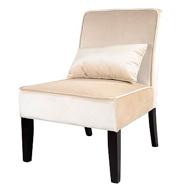 CorLiving LAD-411-C Antonio Lounge Chair, Soft Cream Velvet