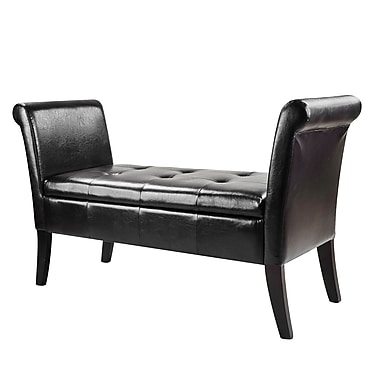 CorLiving LAD-520-O Antonio Bench with Rolled Arms, Bonded Leather, Black