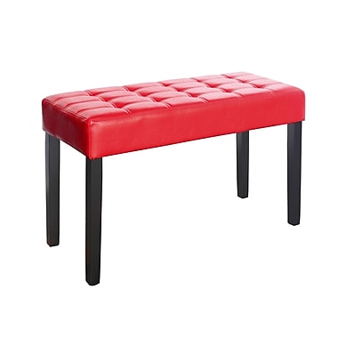 CorLiving LMY-150-O California 24 Panel Bench, Leatherette, Red