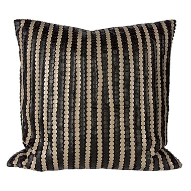 Steven & Chris Black Pillow with Faux Leather Ribbons, 20