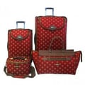 American Flyer Fleur De Lis 4 Piece Luggage Set; Red