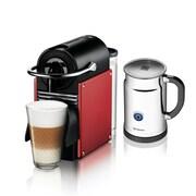 Nespresso Pixie Espresso Maker w/ Aerocinno & Milk Frother; Carmine