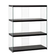 Wildon Home   44.5'' Bookcase; Glossy Black / Clear