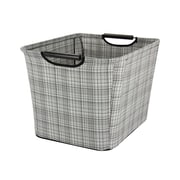 Household Essentials Medium Tapered Storage Bin with Wood Handles, Gray Plaid