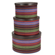 Household Essentials Hat Box Set with Faux Leather Lids Southwest Aztec
