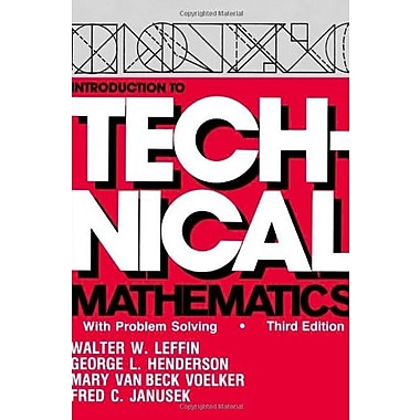 Introduction to Technical Mathematics : With Problem Solving, New Book (9781577660231)