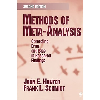 Methods of Meta-Analysis: Correcting Error and Bias in Research Findings, New Book (9781412904797)