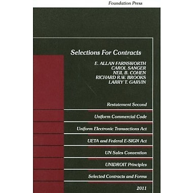 Selections for Contracts 2011 Edition: Uniform Commercial Code, Restatement 2nd, (9781609300791)