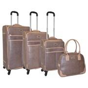 Adrienne Vittadini Woven 4 Piece Luggage Set; Taupe