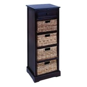 Woodland Imports Cabinet with 4 Wicker Basket Chest; Dark