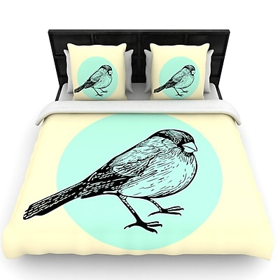 KESS InHouse Old Paper Bird by Sreetama Ray Woven Duvet Cover; Queen WYF078277527484