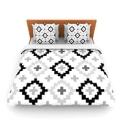 KESS InHouse Black White Moroccan by Pellerina Woven Duvet Cover; King/California King
