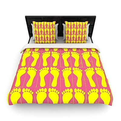 KESS InHouse Footprints Yellow by Sreetama Ray Woven Duvet Cover; Queen WYF078277530335