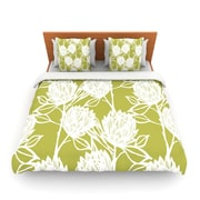 KESS InHouse Protea Olive White by Gill Eggleston Woven Duvet Cover; King/California King