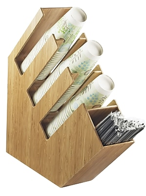 Cal-Mil Bamboo Cup/Lid/Straw Holder; Bamboo WYF078277476514