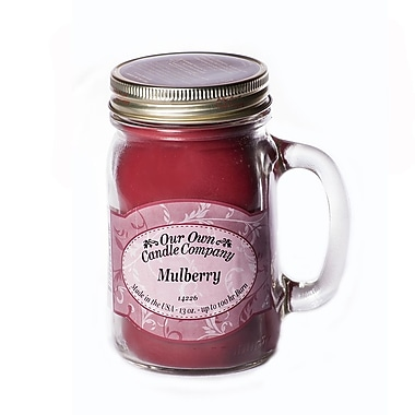 OOCC Soy-Based Mason Jar Candle, 13oz., Mulberry Scent, 12/Pack