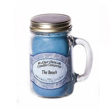 OOCC Soy-Based Mason Jar Candle, 13oz., The Beach Scent, 6/Pack