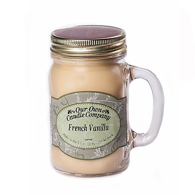 OOCC Soy-Based Mason Jar Candle, 13oz., French Vanilla Scent, 12/Pack