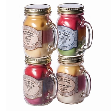 OOCC Soy-Based Mason Jar Candle, 13oz., Triples Scent, 4/Pack
