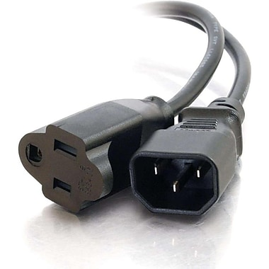 C2G 3147 1' IEC320C14 to NEMA 5-15R Monitor Power Adapter Cord
