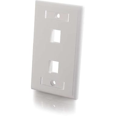 C2G 3411 2 Port Single Gang Wall Plate, White