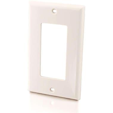 C2G 3725 Cutout Single Gang Wall Plate, White