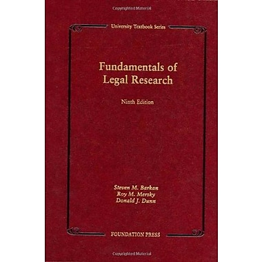 Barkan, Mersky and Dunn's Fundamentals of Legal Research, 9th (University Textbook Series), Used Book, (9781599412184)