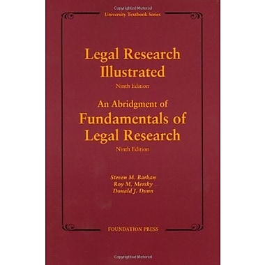 Legal Research Illustrated 9th Edition (University Textbook Series), Used Book, (9781599413358)