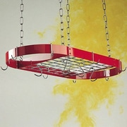 Rogar Gourmet Custom Oval Hanging Pot Rack with Grid; Red/Chrome