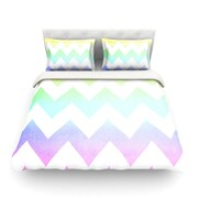 KESS InHouse Water Color by Catherine McDonald Chevron Light Cotton Duvet Cover; Twin
