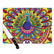 KESS InHouse Peacolor by Roberlan Rainbow Peacock Cutting Board; 0.5'' H x 15.75'' W x 11.5'' D