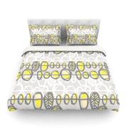 KESS InHouse Benin Yellow Grey by Gill Eggleston Light Cotton Duvet Cover; Twin