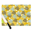 KESS InHouse Blue and Yellow Flowers by Nandita Singh Cutting Board; 0.5'' H x 15.75'' W x 11.5'' D