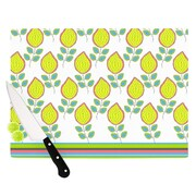 KESS InHouse Yellow Leaves by Nandita Singh Floral Cutting Board; 0.5'' H x 15.75'' W x 11.5'' D