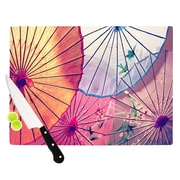 KESS InHouse Colorful Umbrellas by Sylvia Cook Cutting Board; 0.5'' H x 15.75'' W x 11.5'' D