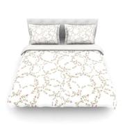 KESS InHouse Evergreen Wreaths by Emma Frances Light Cotton Duvet Cover; Queen