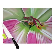 KESS InHouse Pink and Green by Cathy Rodgers Flower Cutting Board; 0.5'' H x 15.75'' W x 11.5'' D
