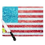 KESS InHouse Red White and Glitter by Beth Engel Flag Cutting Board; 0.5'' H x 11'' W x 7.5'' D