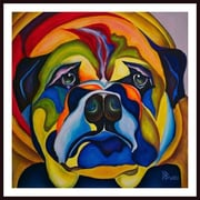 Printfinders 'Bull Dog Buddy' by Debra Bucci Framed Print Painting
