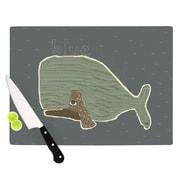 KESS InHouse Blue Whale by Bri Buckley Cutting Board; 0.5'' H x 15.75'' W x 11.5'' D