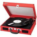 Jensen Portable 3 Speed Stereo Turntable with Built in Speakers; Red