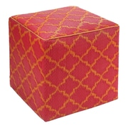 Fab Rugs World Tangier Pouf Ottoman; Orange Peel / Rouge Red