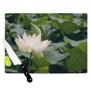 KESS InHouse White Lotus by Catherine McDonald Cutting Board; 0.5'' H x 11'' W x 7.5'' D