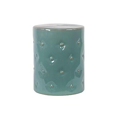 Urban Trends Ceramic Garden Stool with Button Design Gloss Yellow Green; Light Blue