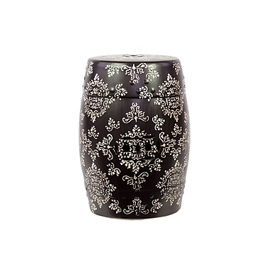 Urban Trends Ceramic Garden Stool with Intricate Floral Design Brown; Black and White