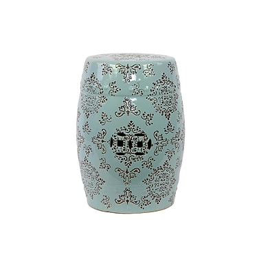 Urban Trends Ceramic Garden Stool with Intricate Floral Design Brown; Blue and Bronze