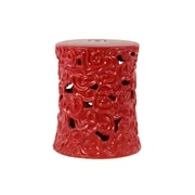 Urban Trends Ceramic Garden Stool with Embossed Swirl Designs Gloss Moss Green; Red